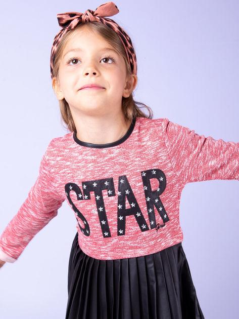 Czerwona sukienka dla dziewczynki z napisem                              zdj.                              3