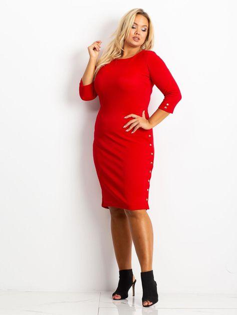Czerwona sukienka plus size Miley                              zdj.                              4