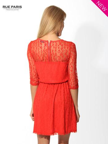 Czerwona sukienka pokryta panterkową siateczką                                  zdj.                                  4