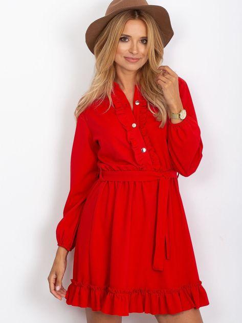 Czerwona sukienka z falbankami                              zdj.                              5