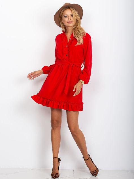 Czerwona sukienka z falbankami                              zdj.                              4