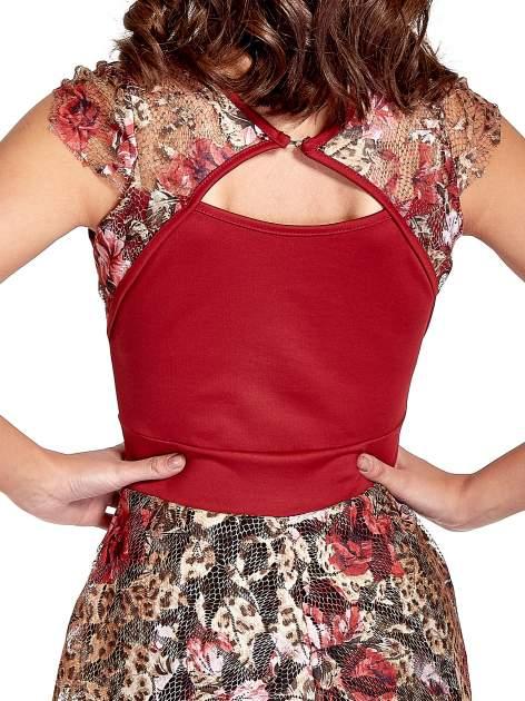 Czerwona sukienka z koronkowym kwiatowym dołem                                  zdj.                                  6