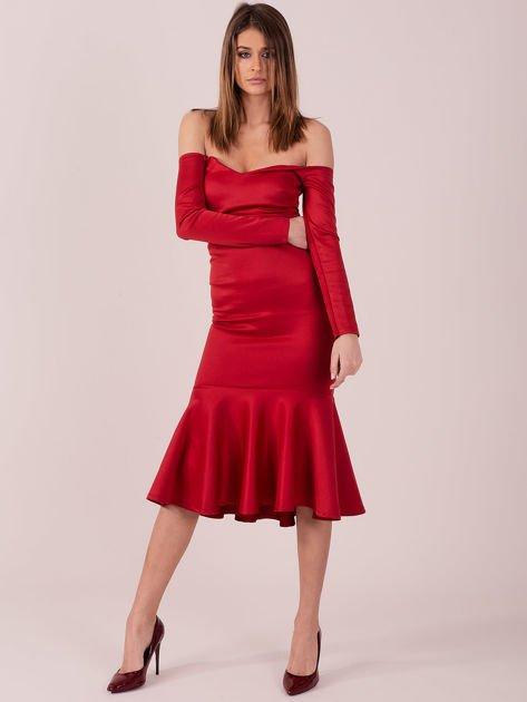 Czerwona sukienka z szeroką falbaną na dole                              zdj.                              4
