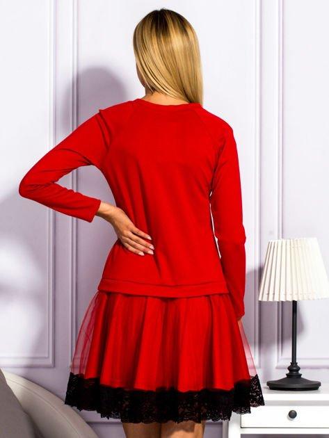 Czerwona sukienka z tiulową spódnicą                                  zdj.                                  2