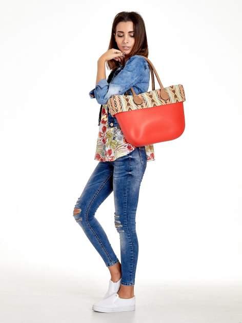 Czerwona torba gumowa z motywem azteckim                                  zdj.                                  2