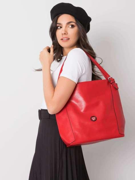 Czerwona torba na ramię z ekoskóry