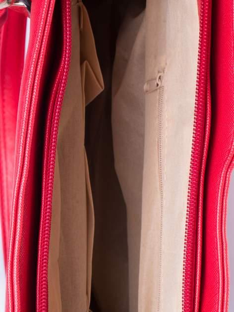 Czerwona torba shopper bag z odpinanym paskiem                                  zdj.                                  6
