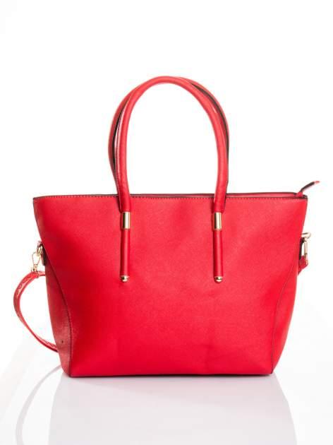 Czerwona torba shopper efekt saffiano