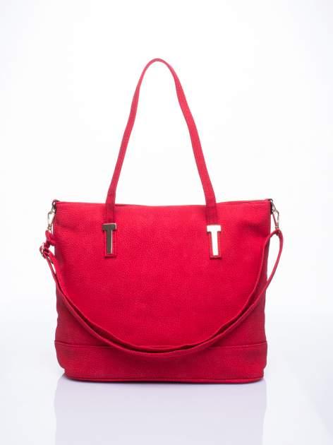 Czerwona torba shopperka z odczepianym paskiem                                   zdj.                                  1