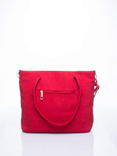 Czerwona torba shopperka z odczepianym paskiem                                   zdj.                                  3