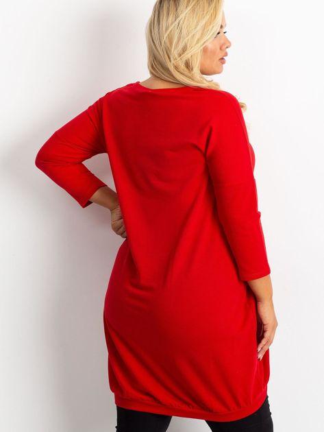 Czerwona tunika plus size Amber                              zdj.                              2
