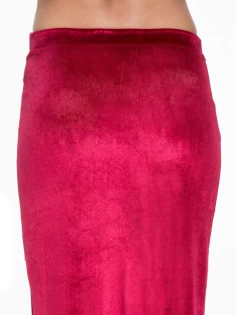 Czerwona zamszowa spódnica maxi z rozporkiem                                  zdj.                                  6