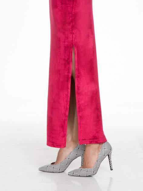 Czerwona zamszowa spódnica maxi z rozporkiem                                  zdj.                                  3