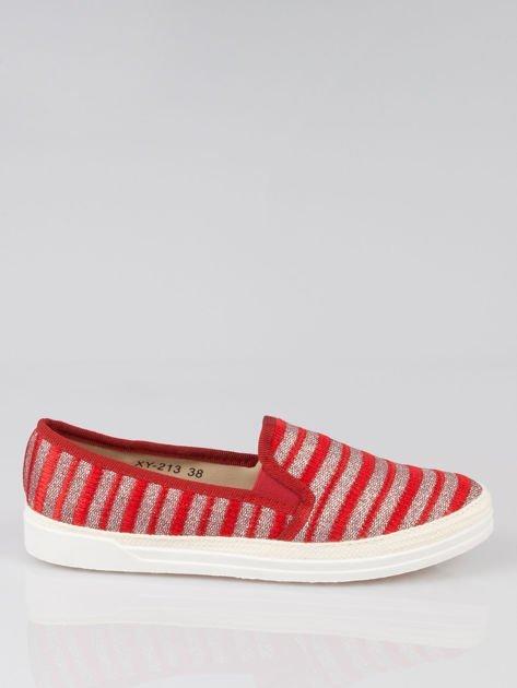 Czerwone buty sliponki w paski                                  zdj.                                  1