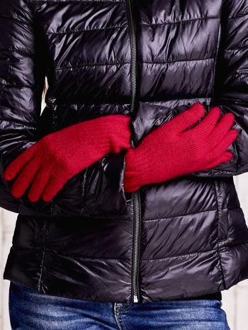 Czerwone długie rękawiczki z przeszywanym ściągaczem                                  zdj.                                  2