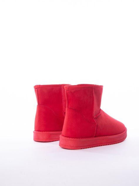 Czerwone gładkie śniegowce ocieplane futerkiem                              zdj.                              2