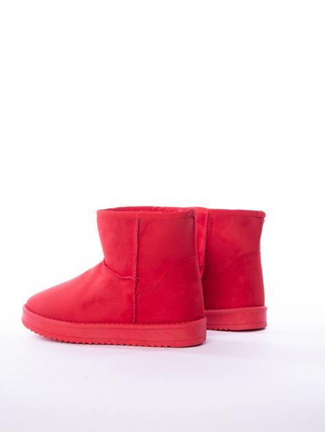 Czerwone gładkie śniegowce ocieplane futerkiem                              zdj.                              5