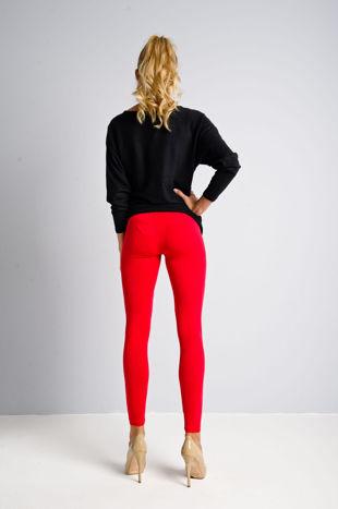Czerwone legginsy bawełniane z gumką w pasie                                  zdj.                                  3