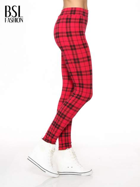 Czerwone legginsy w kratę                                  zdj.                                  3