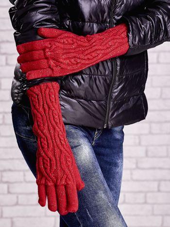 Czerwone rękawiczki o warkoczowym splocie z błyszczącą nicią                                  zdj.                                  3