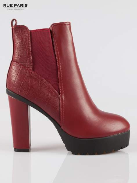 Czerwone wysokie botki na słupku i platformie                                   zdj.                                  1