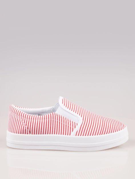 Czerwono-białe buty slip on w paski na grubej podeszwie                              zdj.                              1