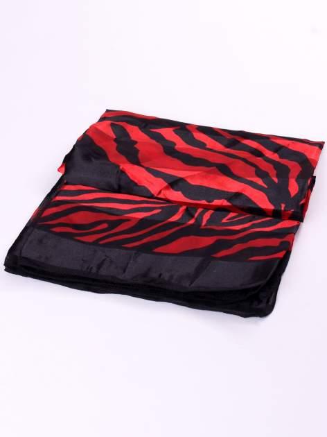 Czerwono-czarna chusta apaszka we wzór zebry                                  zdj.                                  3