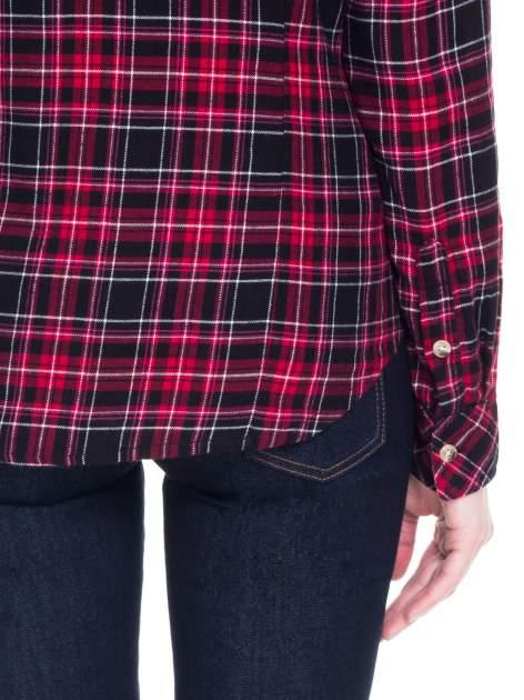 Czerwono-czarna koszula w kratę z kieszonkami                                  zdj.                                  9