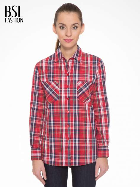 Czerwono-granatowa klasyczna koszula w kratkę z kieszeniami
