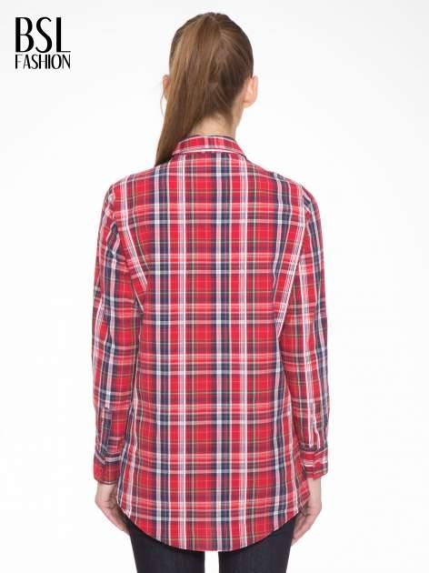 Czerwono-granatowa klasyczna koszula w kratkę z kieszeniami                                  zdj.                                  4