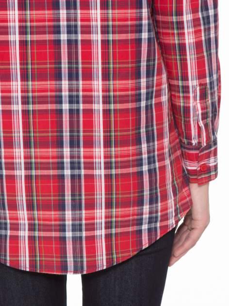 Czerwono-granatowa klasyczna koszula w kratkę z kieszeniami                                  zdj.                                  10