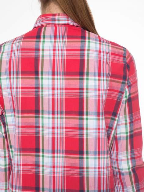 Czerwono-zielona klasyczna koszula w kratę z kieszeniami                                  zdj.                                  7