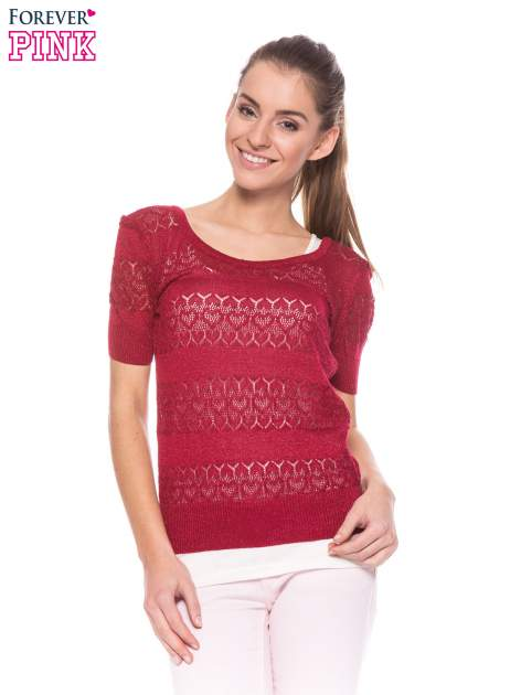 Czerwony ażurowy sweterek w stylu retro                                  zdj.                                  1