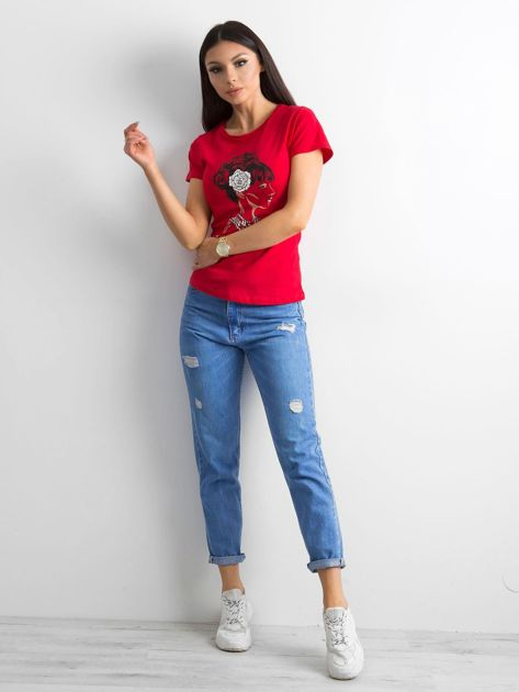 Czerwony bawełniany t-shirt z printem                              zdj.                              4