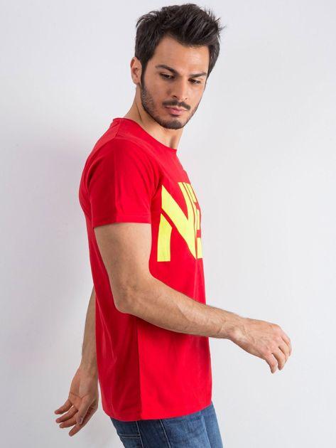 Czerwony męski t-shirt Public                              zdj.                              3