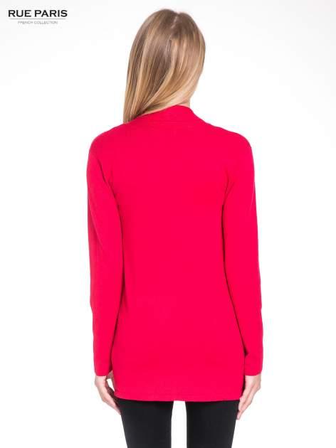Czerwony otwarty sweter kardigan z prążkowanym kołnierzem                                  zdj.                                  3