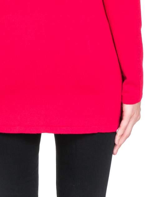 Czerwony otwarty sweter kardigan z prążkowanym kołnierzem                                  zdj.                                  8