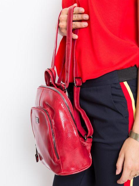 Czerwony plecak damski ze skóry ekologicznej                              zdj.                              3