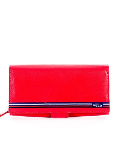 Czerwony podłużny skórzany portfel z klapką                              zdj.                              1