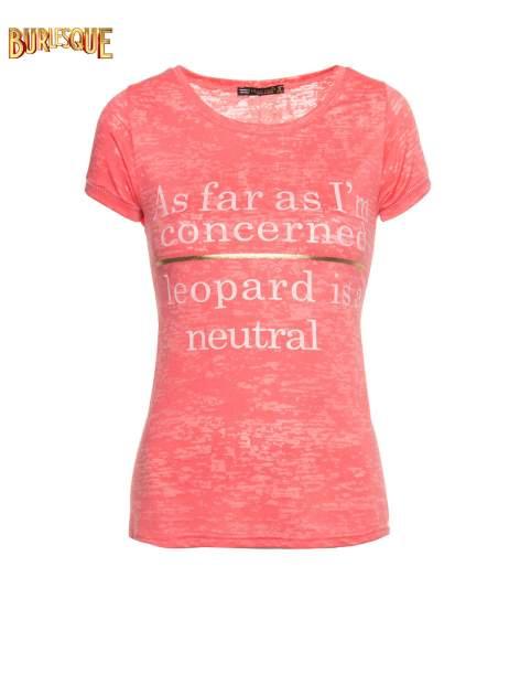 Czerwony półtransparentny t-shirt z napisem                                  zdj.                                  1