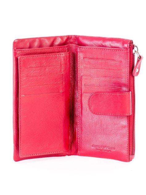 Czerwony portfel skórzany z kieszenią na suwak                              zdj.                              5