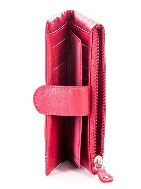 Czerwony portfel skórzany z kieszenią na suwak                              zdj.                              6