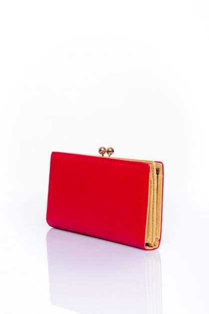 Czerwony portfel z biglem efekt saffiano                                   zdj.                                  2