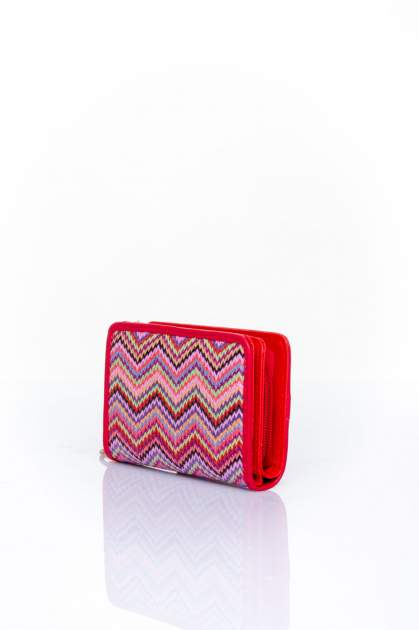 Czerwony portfel z motywem geometrycznej plecionki                                  zdj.                                  2