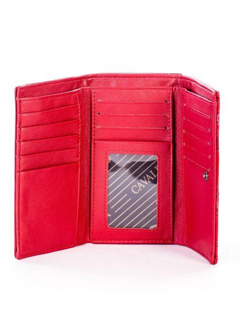 Czerwony portfel ze skóry naturalnej z tłoczonymi motylami                              zdj.                              5