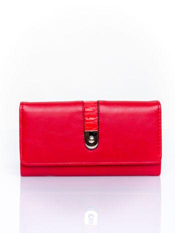 Czerwony portfel ze złotym zapięciem                                   zdj.                                  1