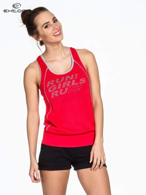 Czerwony siatkowy top sportowy z napisem RUN GIRLS RUN