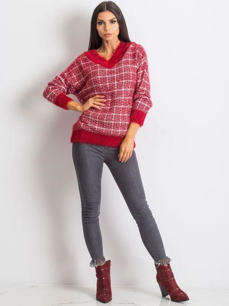 Czerwony sweter Happiness                              zdj.                              4