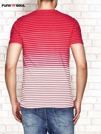 Czerwony t-shirt męski w paski FUNK N SOUL