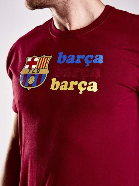 Czerwony t-shirt męski z nadrukiem FC BARCELONA                                  zdj.                                  6